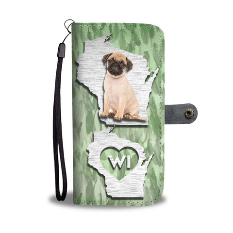 Pug Dog Print Wallet Case-Free Shipping-WI State