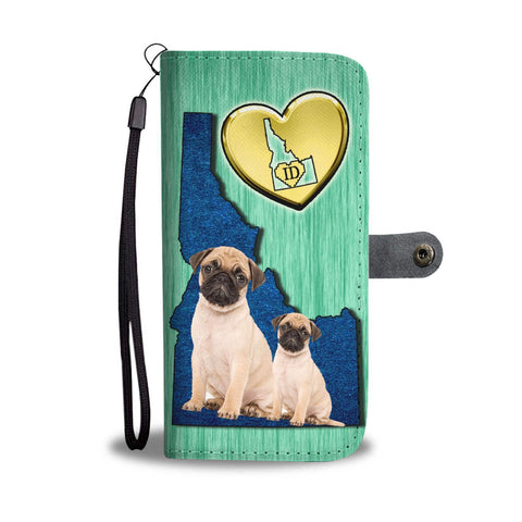 Lovely Pug Dog Print Wallet Case-Free Shipping-ID State