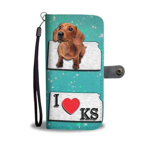 Cute Dachshund Puppy Print Wallet Case-Free Shipping-KS State