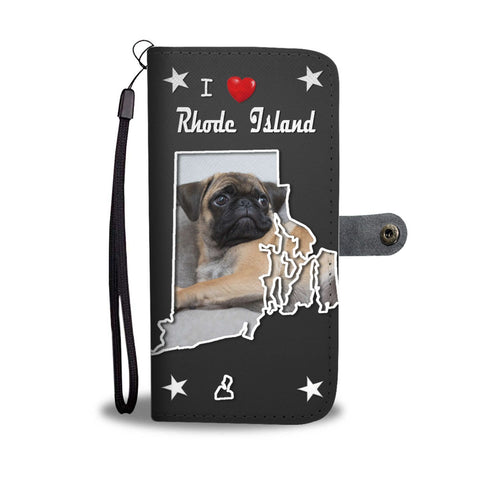 Pug Dog On Black Print Wallet Case-Free Shipping-RI State