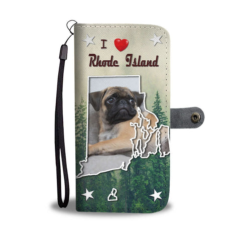 Pug Dog Print Wallet Case-Free Shipping-RI State