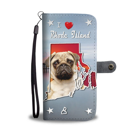 Lovely Pug Dog Print Wallet Case-Free Shipping-RI State