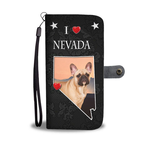 French Bulldog On Black Print Wallet Case-Free Shipping-NV States