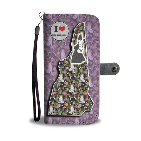 Beagle Dog Floral Print Wallet Case-Free Shipping-NH State