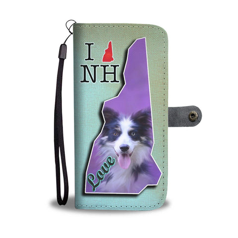Border Collie Dog Print Wallet Case-Free Shipping-NH State