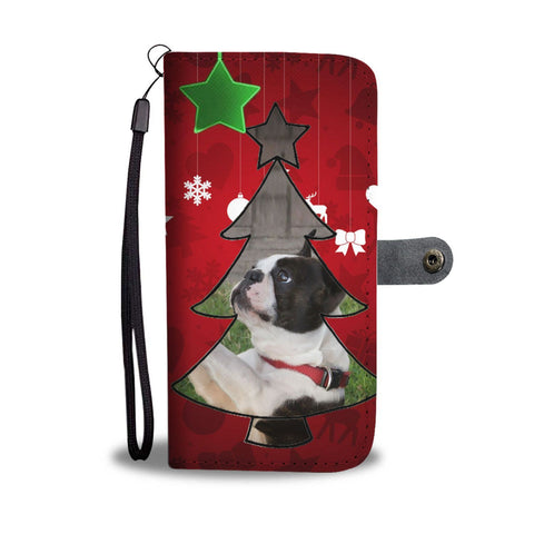 Lovely Boston Terrier Christmas Print Wallet Case-Free Shipping