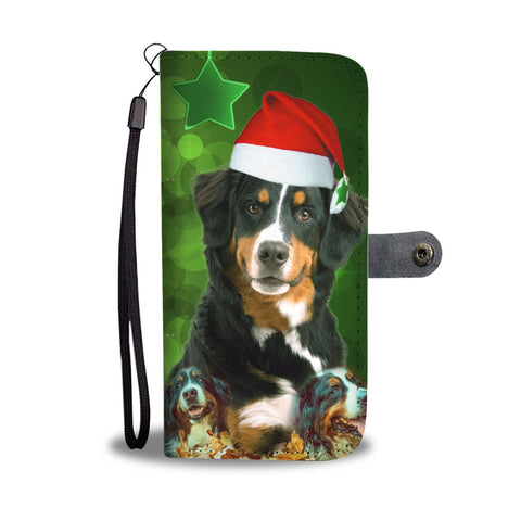 Bernese Mountain Dog On Christmas Print Wallet Case-Free Shipping