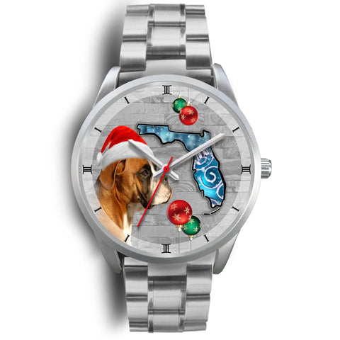Boxer Dog On Christmas Florida Wrist Watch-Free Shipping