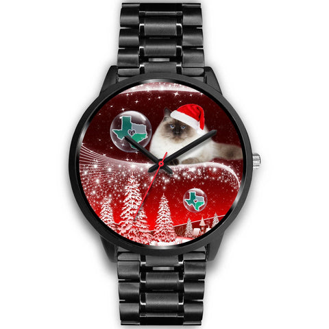 Birman Cat Texas Christmas Special Wrist Watch-Free Shipping