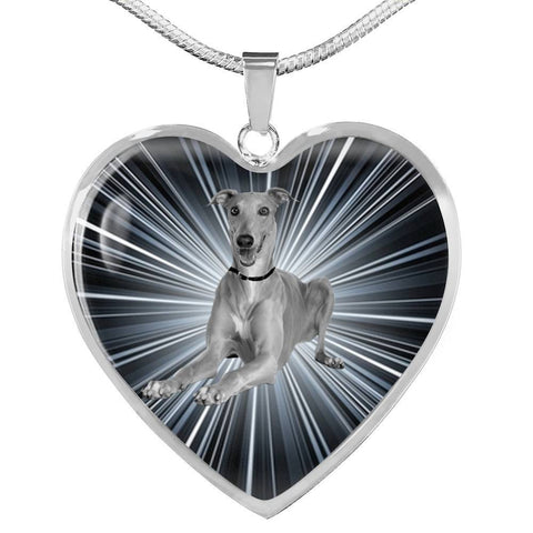 Italian Greyhound Dog Print Heart Pendant Luxury Necklace-Free Shipping