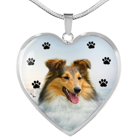 Shetland Sheepdog Print Heart Charm Necklace-Free Shipping