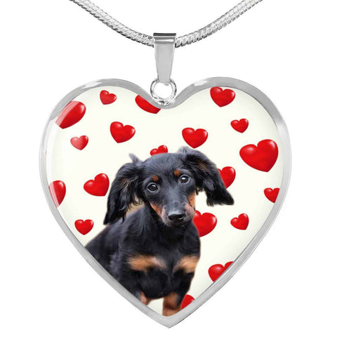 Cute Dachshund Print Heart Charm Necklace-Free Shipping