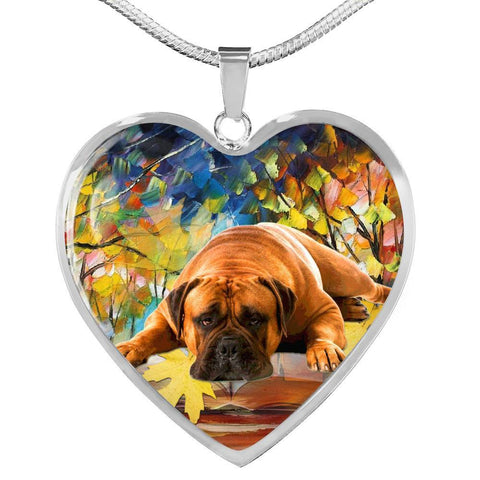 Bullmastiff Print Heart Pendant Luxury Necklace-Free Shipping