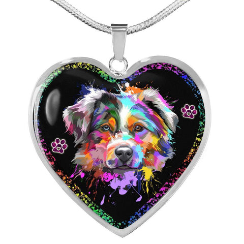 Australian Shepherd Dog Print Heart Charm Necklaces-Free Shipping