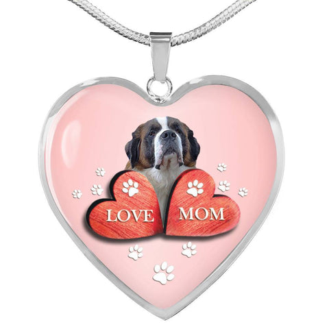 Saint Bernard Dog Print Heart Pendant Luxury Necklace-Free Shipping