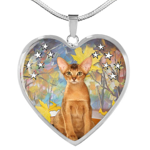 Abyssinian Cat Print Heart Pendant Luxury Necklace-Free Shipping