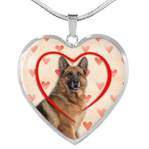 German Shepherd Print Heart Charm Necklace-Free Shipping