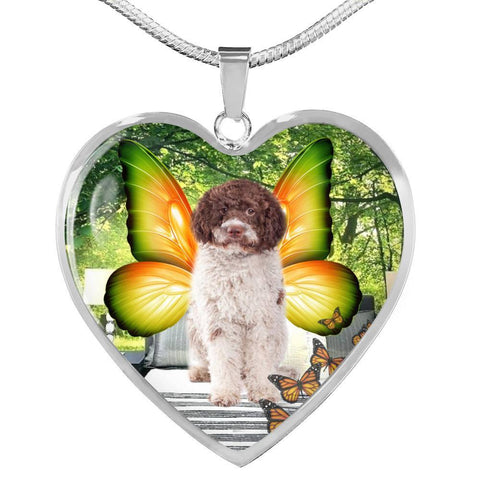 Cute Lagotto Romagnolo Dog Print Heart Pendant Luxury Necklace-Free Shipping