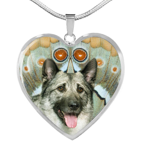 Norwegian Elkhound Dog Print Heart Pendant Luxury Necklace-Free Shipping