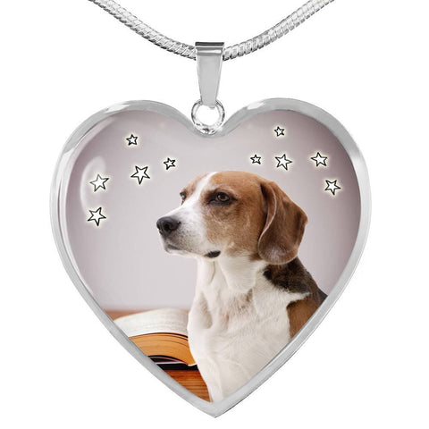 English Foxhound Print Heart Pendant Luxury Necklace-Free Shipping