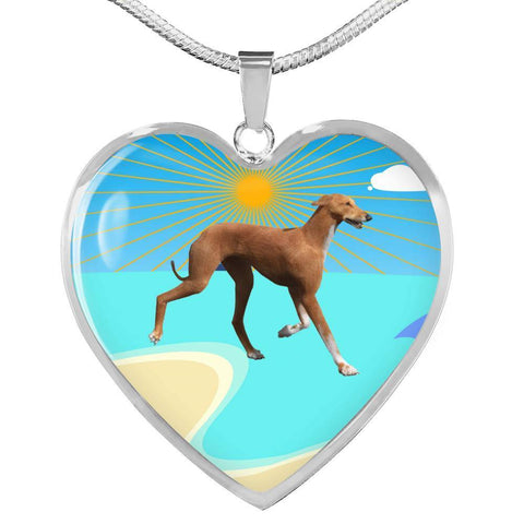 Azawakh Dog Print Heart Pendant Luxury Necklace-Free Shipping