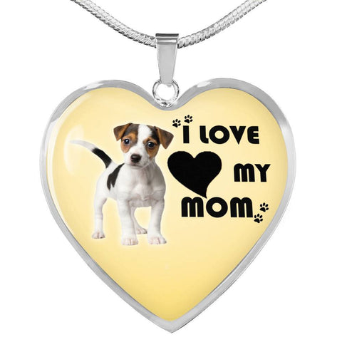 Jack Russell Terrier Print Heart Pendant Luxury Necklace-Free Shipping