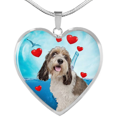 Petit Basset Griffon Vendeen Print Heart Pendant Luxury Necklace-Free Shipping