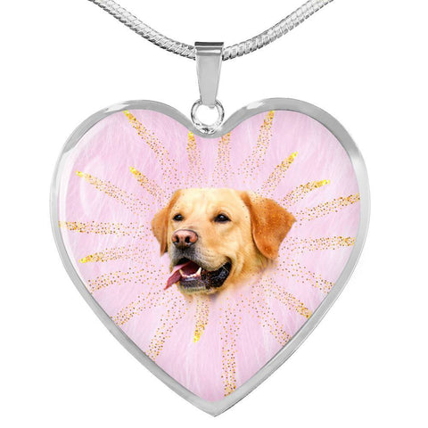 Labrador Retriever Print Heart Charm Necklaces-Free Shipping
