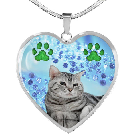 Cute American Shorthair Print Heart Pendant Luxury Necklace-Free Shipping