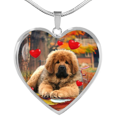 Tibetan Mastiff Print Heart Pendant Luxury Necklace-Free Shipping