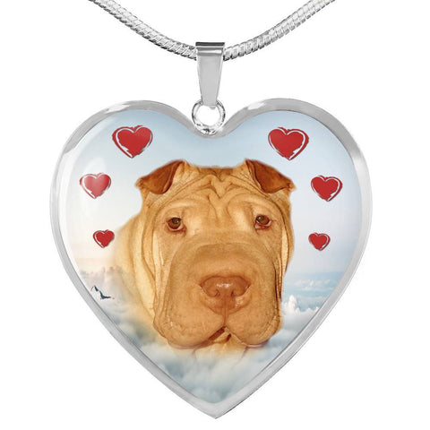 Cute Shar Pei Print Heart Pendant Luxury Necklace-Free Shipping