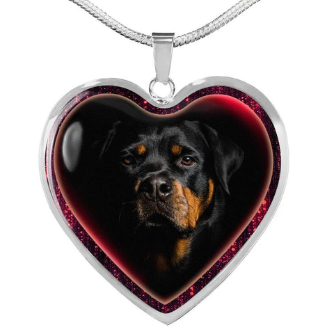 Lovely Rottweiler Dog Print Heart Charm Necklaces-Free Shipping