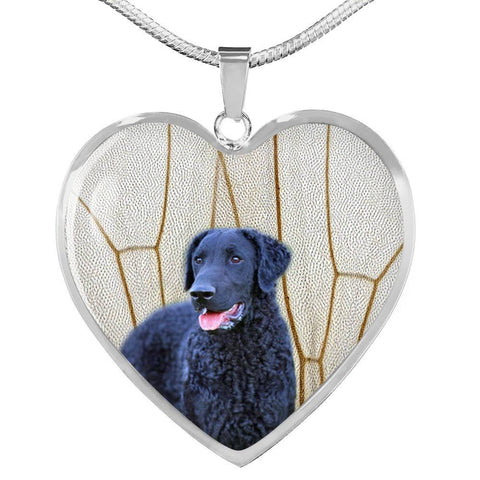 Curly Coated Retriever Print Heart Pendant Luxury Necklace-Free Shipping