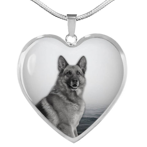 Cute German Shepherd Print Heart Charm Necklace-Free Shipping