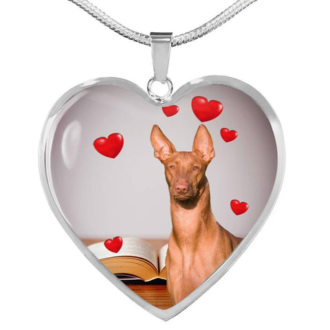 Pharaoh Hound Print Heart Pendant Luxury Necklace-Free Shipping
