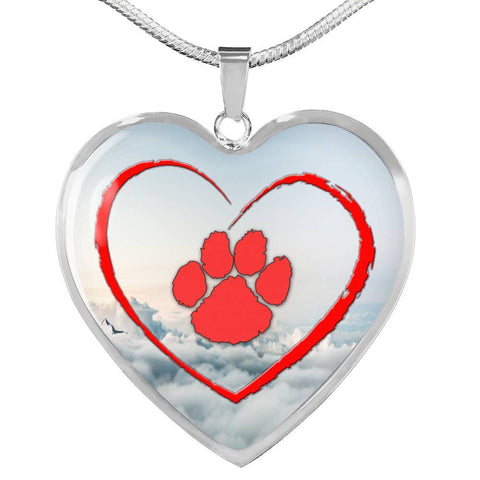 Paws Print Heart Pendant Luxury Necklace-Free Shipping