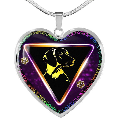 Vizsla Dog Art Print Heart Charm Necklaces-Free Shipping