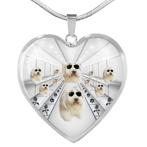 Amazing Old English Sheepdog Print Heart Pendant Luxury Necklace-Free Shipping