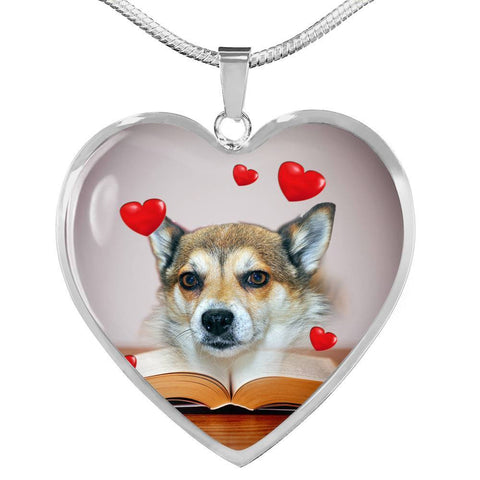 Norwegian Lundehund Print Heart Pendant Luxury Necklace-Free Shipping