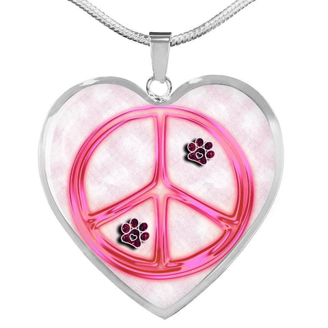Peace Sign With Paws Print Heart Charm Necklaces-Free Shipping