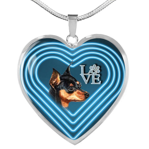 Miniature Pinscher Dog Print Heart Charm Necklaces-Free Shipping