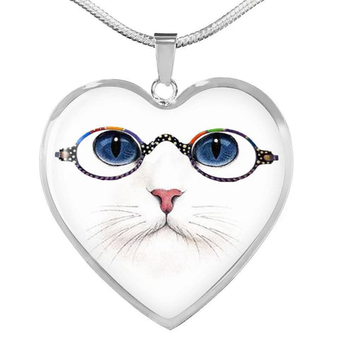 Cute Cat With Glasses Heart Pendant Luxury Necklace-Free Shipping