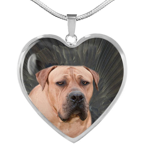 South African Boerboel Dog Print Heart Pendant Luxury Necklace-Free Shipping