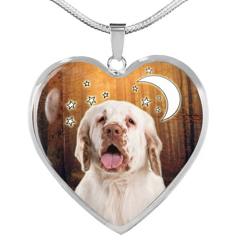 Clumber Spaniel Print Heart Pendant Luxury Necklace-Free Shipping