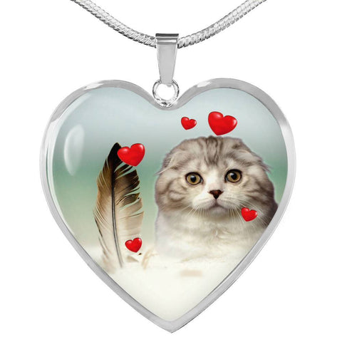 Scottish Fold Print Heart Pendant Luxury Necklace-Free Shipping