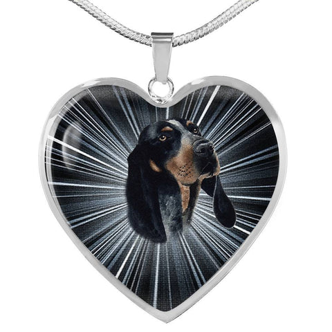 Bluetick Coonhound Dog Print Heart Pendant Luxury Necklace-Free Shipping