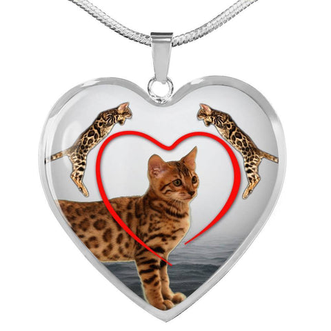 Bengal Cat Print Heart Pendant Luxury Necklace-Free Shipping