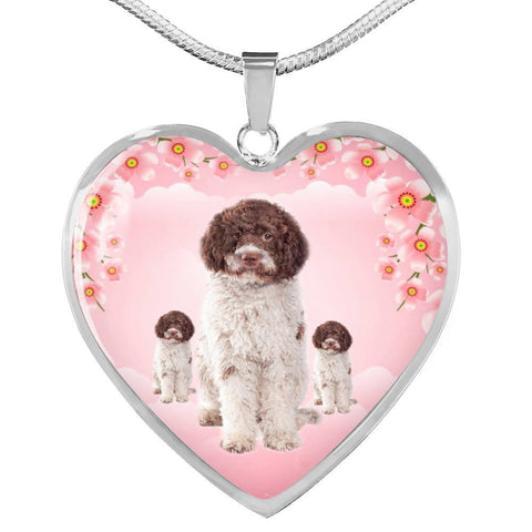 Lagotto Romagnolo Dog Print Heart Pendant Luxury Necklace-Free Shipping