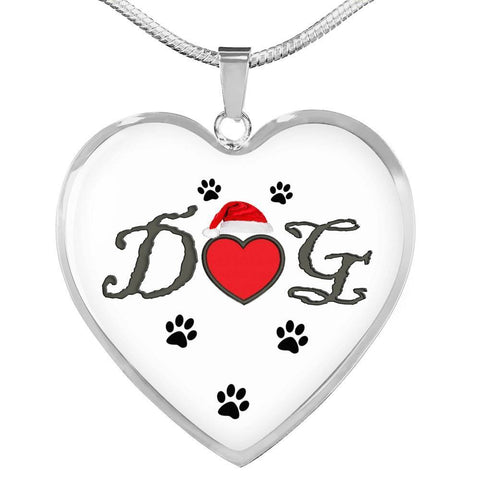 Dog With Paws Print Heart Pendant Luxury Necklace-Free Shipping