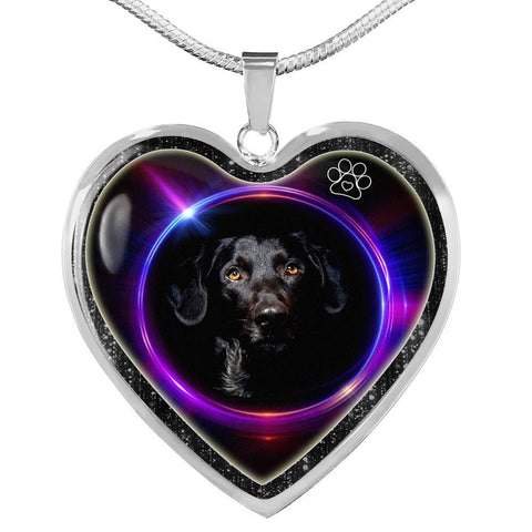 Black Labrador Print Heart Charm Necklaces-Free Shipping